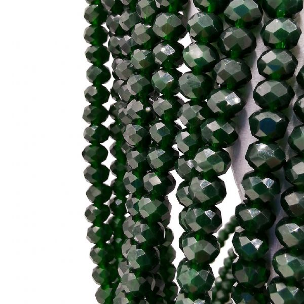98 pcs x 6mm Glass Faceted Rondelle Black Forest Green 206